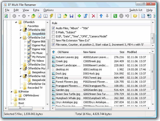 Click to view EF Multi File Renamer 2.80 screenshot