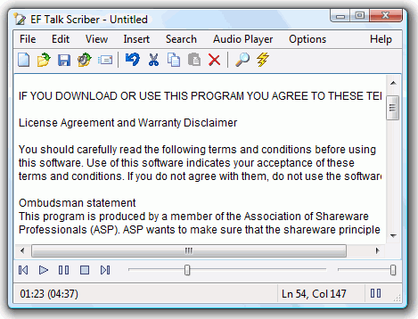 EF Talk Scriber combines a text editor and an audio file player, designed to work like a dictation transcribing machine. Multilingual. Shareware